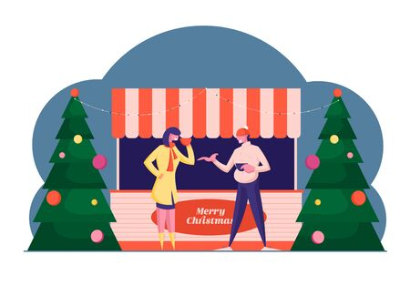 Christmas Market or Outdoor Fair. Man and Woman Standing at Stall Kiosk Drinking Street Beverages and Communicate. Winter Holidays Season Activity, Conversation. Cartoon Flat Vector Illustration 일러스트