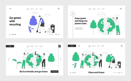 Ecological Issues, Nature Garbage Pollution and Protection Website Landing Page Set. People Care of Planet, Earth Day Holiday Celebration Web Page Banner. Cartoon Flat Vector Illustration, Line Art