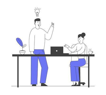 Business Board Meeting in Office. Businessman with Light Bulb Telling Creative Idea to Woman Sitting with Laptop. Brainstorming Group Solving Problems, Planing Project Cartoon Flat Vector Illustration