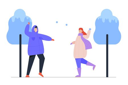 Woman and Man Playing Snowballs on Street. Winter Season Outdoors Leisure and Activities. Happy Family, Friends Young People Having Fun Christmas and New Year Holidays Cartoon Flat Vector Illustration
