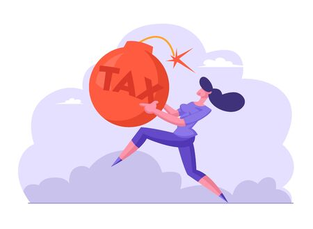Scared Businesswoman Running Fast in Panic Holding Huge Red Bomb with Sparkling Wick and Tax Inscription
