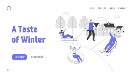 People Wintertime Outdoors Activity Website Landing Page. Happy Adults and Children Sledding on Tubing and Sleds