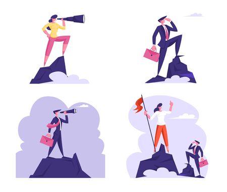 Set di uomini d'affari in piedi sulla cima della montagna guardando attraverso il binocolo sulla bandiera rossa sull'altro lato della scogliera. Visione dell'obiettivo aziendale, previsione visionaria delle previsioni. Cartoon piatto illustrazione vettoriale