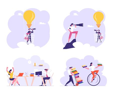 Set Office Employees at Workplace Stressed of Deadline and Paper Bureaucracy, Business Man Flying in Sky on Hot Air Balloon in Shape of Light Bulb Business Idea Vision Cartoon Flat Vector Illustration