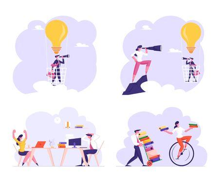 Stellen Sie Büroangestellte am Arbeitsplatz ein, die von Fristen und Papierbürokratie gestresst sind, Geschäftsmann, der auf Heißluftballon in den Himmel fliegt, in Form einer Glühbirne Geschäftsidee Vision Cartoon flache Vektorillustration