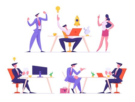 Set of Businesspeople Team Developing Startup Project and Creative Idea. Businessman Working on Computer Having Light Bulb Insight. Office Negotiation with Job Seeker. Cartoon Flat Vector Illustration