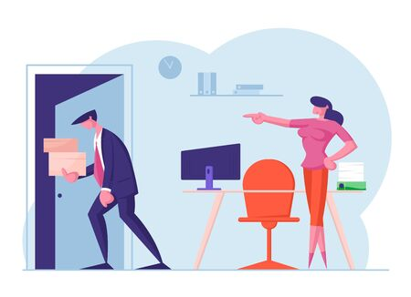 Businessman Get Fired. Upset Collar with Cardboard Boxes in Hands Leaving Office with Angry Lady Boss Pointing on Door. Man Carry Belongings Go Out of Workplace. Cartoon Flat Vector Illustration