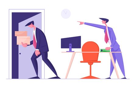 Angry Boss Shouting and Pointing on Door to Sad Worker Carrying his Belongings in Box. Fired Employee Leaving Office with Things in Cardboard Package. Career Failure Cartoon Flat Vector Illustration