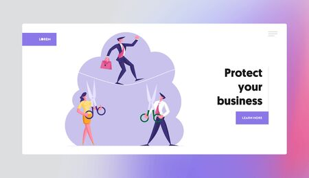 Business Risk Website Landing Page. Business Man Cross an Obstacle in Balance on Rope Opponents Businessman and Businesswoman Cut it with Scissors Web Page Banner. Cartoon Flat Vector Illustration