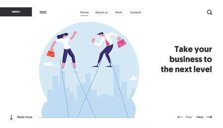 Business People Rising above of Circumstances Website Landing Page. Businessman and Businesswoman Walking Balancing on Stilts at Cityscape Background Web Page Banner. Cartoon Flat Vector Illustration Illustration