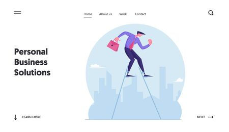 Businessman Walking on Stilts at Cityscape Background Website Landing Page. Concentrated Entrepreneur Escape Crisis or Difficult Situation in Business Web Page Banner. Cartoon Flat Vector Illustration