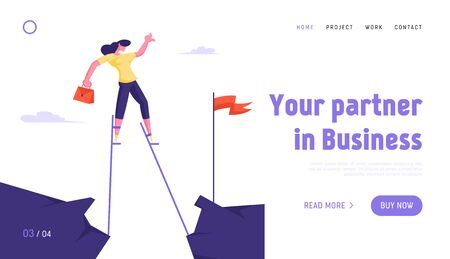Manager Businesswoman Reach Goal Website Landing Page. Business Woman Overcome Abyss Going by Stilts Trying to Reach Red Flag on other Side of Cliff Web Page Banner. Cartoon Flat Vector Illustration Ilustração