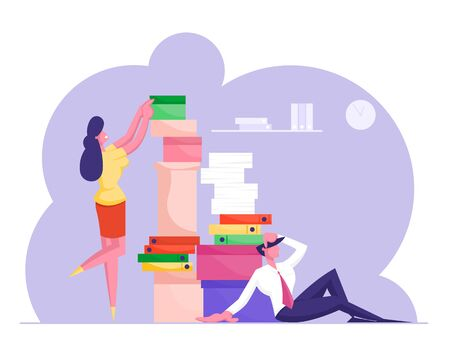 Man and Woman with Huge Heap of Paper Documents. Business People Office Employees Work in Very Busy Day. Accounting Bureaucracy, Manager New Job Position, Deadline Cartoon Flat Vector Illustration