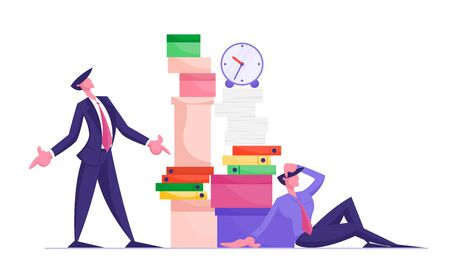 Angry Boss Character Looking on Huge Stack of Unfinished Paper Documents, Employee Office Worker Sitting with Much Paperwork. Businessman in Stress Deadline Situation. Cartoon Flat Vector Illustration Çizim