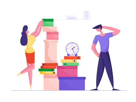 Businesswoman Putting Paper Documents in Folders in Huge Heap for Overwork Office Employee Finish Work with Documentation. Deadline, Company Boss Hurry Worker with Job Cartoon Flat Vector Illustration