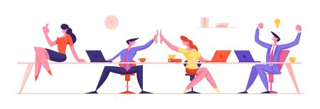 Joyful Business People Rejoice and Giving High Five after Successful Deal or Contract Signing. Managers Team, Businessmen and Businesswomen Characters Teamwork Group. Cartoon Flat Vector Illustration