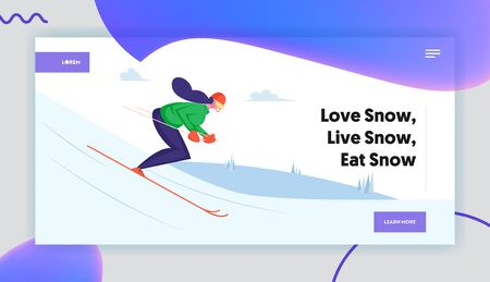 Young Woman Skiing on Mountains Resort Website Landing Page. Girl Riding Downhills by Skis Having Wintertime Fun and Leisure Time. Winter Sports Life Web Page Banner. Cartoon Flat Vector Illustration