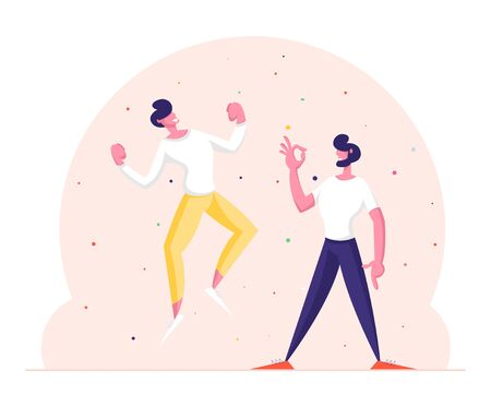 Winners Business Men or Friends Celebrating Victory or Successful Deal. Happy People in Smart Casual Wear Gesturing Yes and Ok Gestures. Successful Worker with Arms Up Cartoon Flat Vector Illustration