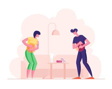Upset Young Woman and Man Feeling Abdominal Pain. People Suffering of Ache or Spasm in Stomach Holding Belly at Home with Pills on Table. Digestive Tract Indigestion Cartoon Flat Vector Illustration