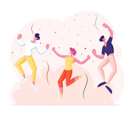 Happy Young People Having Party. Joyful Male and Female Characters Dance and Jumping with Hands Up in Decorated Room with Confetti Flying around. Holidays Celebration Cartoon Flat Vector Illustration Ilustração