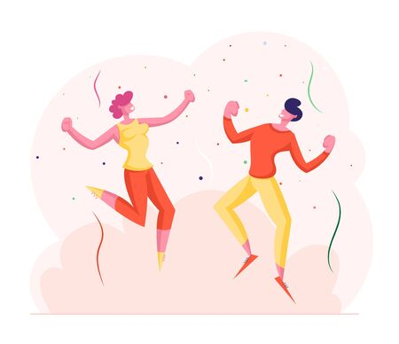 Happy Friends or Business Colleagues Man and Woman Celebrating Party. People Dancing and Jumping with Hands Up during Festive Event, Birthday Holiday Celebration. Cartoon Flat Vector Illustration Ilustração