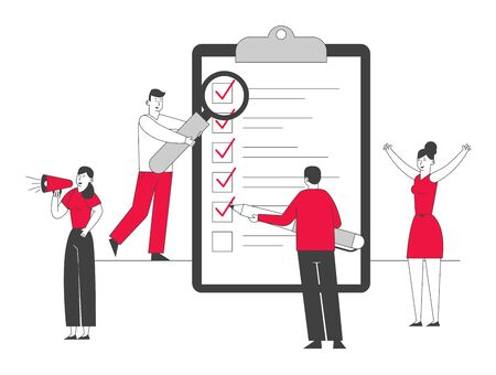 Scheduling Planning Inspiration and Creative Process Concept. Business People Stand at Huge Clipboard with Checklist Filling Check Boxes with Marks by Pen. Cartoon Flat Vector Illustration, Line Art