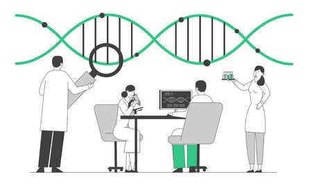 Laboratory Research or Experiment Process. Medicine Genetic Technology. Scientists Working with Dna Structure Looking to Magnifying Glass Making Notes on Pc. Cartoon Flat Vector Illustration, Line Art