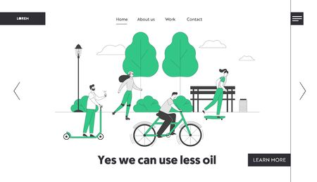Ecological Transport Website Landing Page. People Driving Scooter Bike Skateboard Rollers Spend Active Leisure in Park. Eco Transportation Web Page Banner. Cartoon Flat Vector Illustration, Line Art