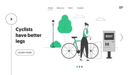 Woman Using Bike Rent Service in Big City Website Landing Page. Girl Taking Bicycle for Traveling, Sports Life or Spare Time. Eco Transport Web Page Banner. Cartoon Flat Vector Illustration, Line Art