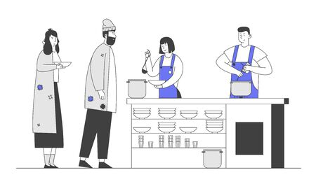 Poor Man and Woman Stand in Queue for Getting Food in Shelter for Homeless, Emergency Housing, Temporary Residence for People, Bums and Beggars Without Home. Cartoon Flat Vector Illustration, Line Art Illustration