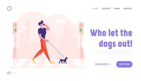 Dweller Having Promenade with Pet Website Landing Page. Relaxed Pedestrian with Dog Talking by Smartphone Walking by Crosswalk over Road with Zebra Web Page Banner. Cartoon Flat Vector Illustration Stock Illustratie