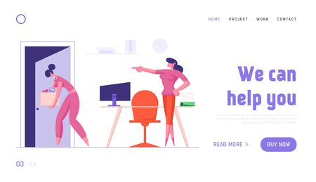 Woman Employee Fired From Job Website Landing Page. Sad Girl Holding Box Walking out of Open Door with Angry Boss in Formal Suit Pointing to Exit Web Page Banner. Cartoon Flat Vector Illustration