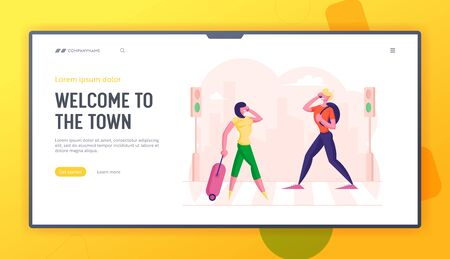 People Walking at Town Street along Road Crosswalk Website Landing Page. Woman with Suitcase and Man with Backpack Talking by Mobiles Busy. Urban Life Web Page Banner. Cartoon Flat Vector Illustration