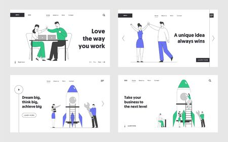 Victory, Startup Launch Website Landing Page Set. Businesspeople Launching Rocket and Giving Highfive. Financial Idea Planning, Triumph Web Page Banner. Cartoon Flat Vector Illustration, Line Art 向量圖像