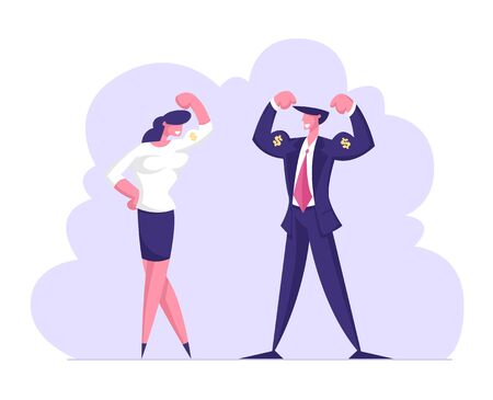 Successful Businessman and Businesswoman Posing and Demonstrate Muscles and Power. Corporate Competition Challenge, Goal Achievement Success, Victory Celebration. Cartoon Flat Vector Illustration