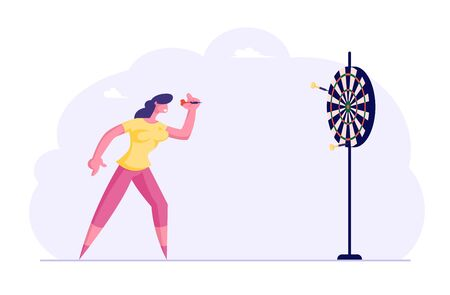 Businesswoman Aiming Darts to Target Trying to Get in Center. Business Goals Achievement, Persistence Aim Mission Challenge, Task Solution, Business Strategy Concept. Cartoon Flat Vector Illustration