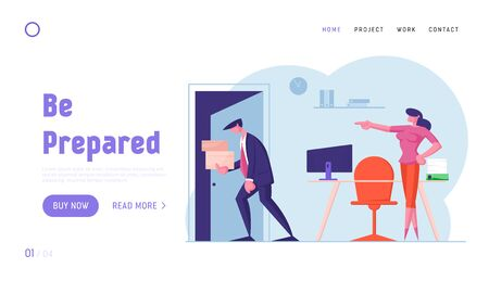 Businessman Get Fired from Job Website Landing Page. Upset Collar with Cardboard Boxes in Hands Leaving Office with Angry Lady Boss Pointing on Door Web Page Banner. Cartoon Flat Vector Illustration