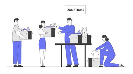 Donation and Charity Concept. Male and Female Characters Bringing Boxes with Toys and Clothes for Poor People and Kids Appears in Complicated Life Situation. Cartoon Flat Vector Illustration, Line Art