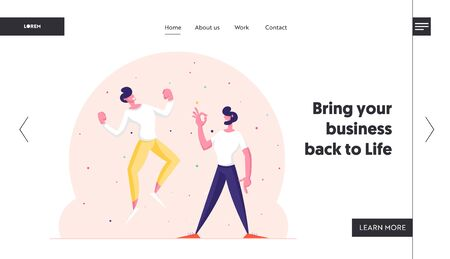 Winners Business Men or Friends Celebrating Victory or Successful Deal Website Landing Page. Happy People Gesturing Yes and Ok Gestures with Arms Up Web Page Banner. Cartoon Flat Vector Illustration Illusztráció