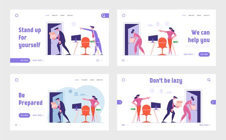 Firing, Dismissal and Career Failure Website Landing Page Set. Man and Woman Employees Carry Belongings Go Out Workplace. Angry Boss Pointing on Door Web Page Banner. Cartoon Flat Vector Illustration