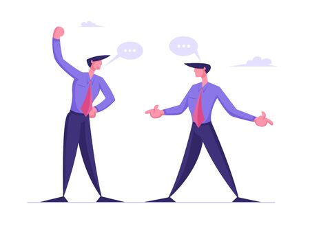 Angry Businessmen Having Quarrel, Preparing to Fight Waving Fists and Arguing. Business Competition Challenge, Fighting for Leadership, Disagreement Speech Bubbles. Cartoon Flat Vector Illustration