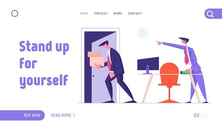 Fired Employee Leaving Office with Things Website Landing Page. Angry Boss Shouting and Pointing on Door to Sad Worker Carrying his Belongings in Box. Web Page Banner. Cartoon Flat Vector Illustration