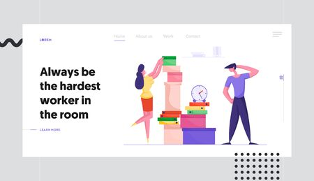 Deadline, Company Boss Hurry Worker with Job Website Landing Page. Businesswoman Put Documents in Huge Heap for Employee Finish Work with Documentation Web Page Banner Cartoon Flat Vector Illustration