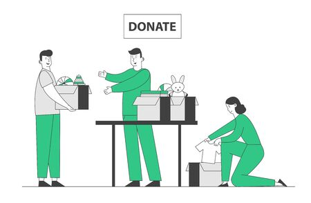Young Man and Woman Altruistic Volunteers Collecting Clothes and Toys to Cardboard Boxes for Donation to Poor Homeless People in Complicated Life Situation. Cartoon Flat Vector Illustration, Line Art