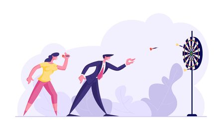 Aspirational Business People Mission Achievement and Corporate Competition. Businessman and Businesswoman Playing Darts. Aim Challenge Task Solution Strategy Goals. Cartoon Flat Vector Illustration 向量圖像