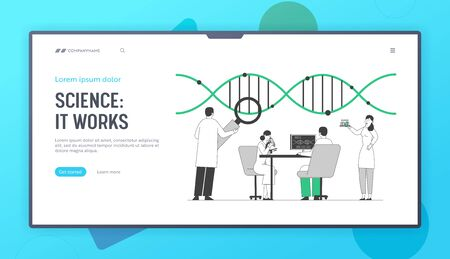 Laboratory Research or Experiment Process Website Landing Page. Medicine Genetic Technology. Scientists Working with Dna Structure in Lab Web Page Banner. Cartoon Flat Vector Illustration, Line Art