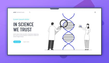 Medicine Technology Genetic Testing Website Landing Page. Scientists Working with Dna Looking through Magnifying Glass. Laboratory Research Web Page Banner. Cartoon Flat Vector Illustration, Line Art Stock Illustratie