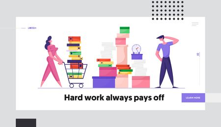 Company Employees Deadline Website Landing Page. Businesswoman Pushing Shopping Cart Full of Documentation. Businessman Look on Huge Heap of Documents Web Page Banner. Cartoon Flat Vector Illustration