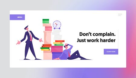 Stress Deadline Situation Website Landing Page. Angry Boss Looking on Huge Stack of Unfinished Paper Documents, Employee Sitting with Much Paperwork Web Page Banner. Cartoon Flat Vector Illustration