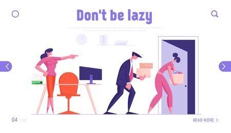 Businesspeople Company Employees Going from Work Website Landing Page. Fired Business Man and Woman Carry Boxes Leaving Office Boss Pointing on Door Web Page Banner. Cartoon Flat Vector Illustration
